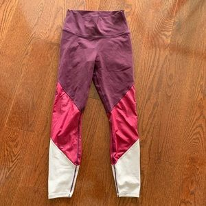 Fabletics full length maroon red pink leggings